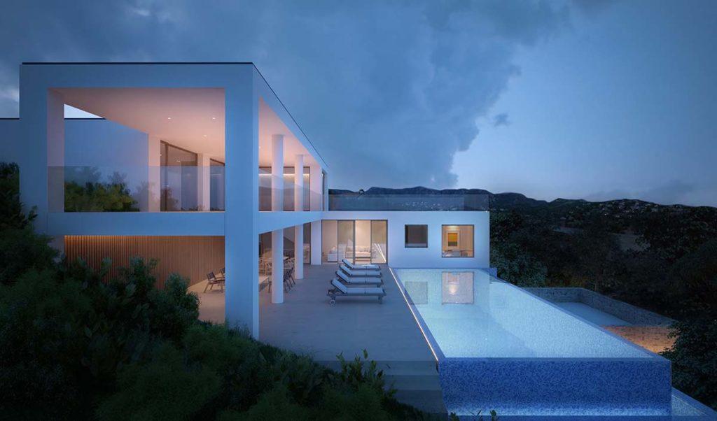 villa moderna con vetrate
