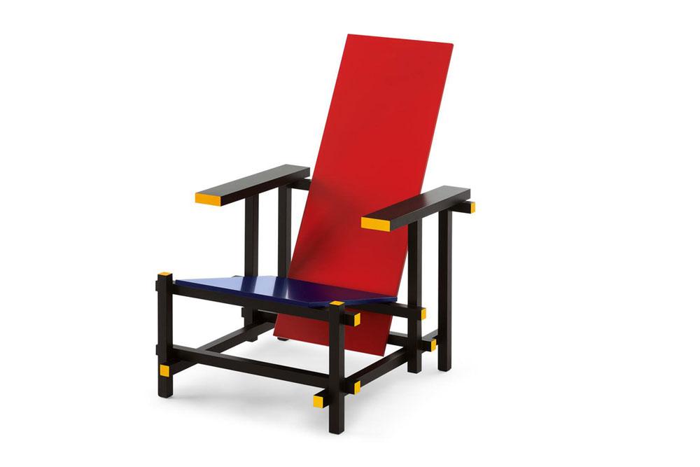 Sedia con campiture di colore nere, rosse, blu e gialle