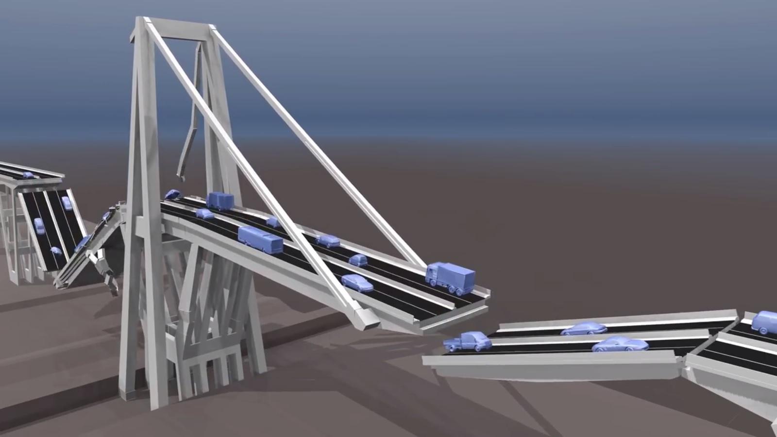 simulazione crollo ponte di Genova
