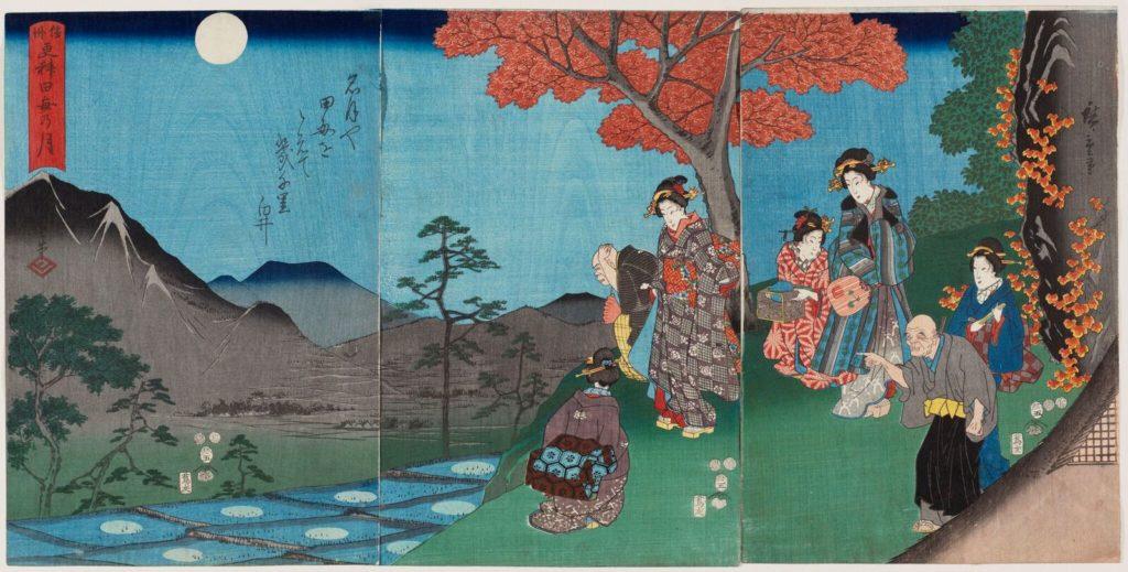 Hiroshige - Luna riflessa sulla superficie delle risaie a Sarashina