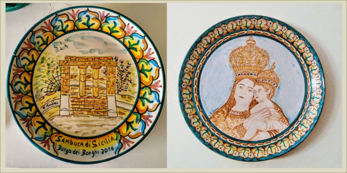 Piatti in ceramica, particolare Calvario e Madonna dell'Udienza, Sambuca di Sicilia