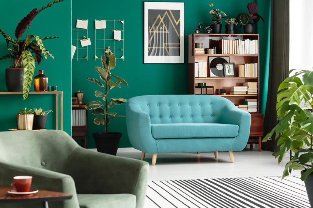 Verde smeraldo interior design