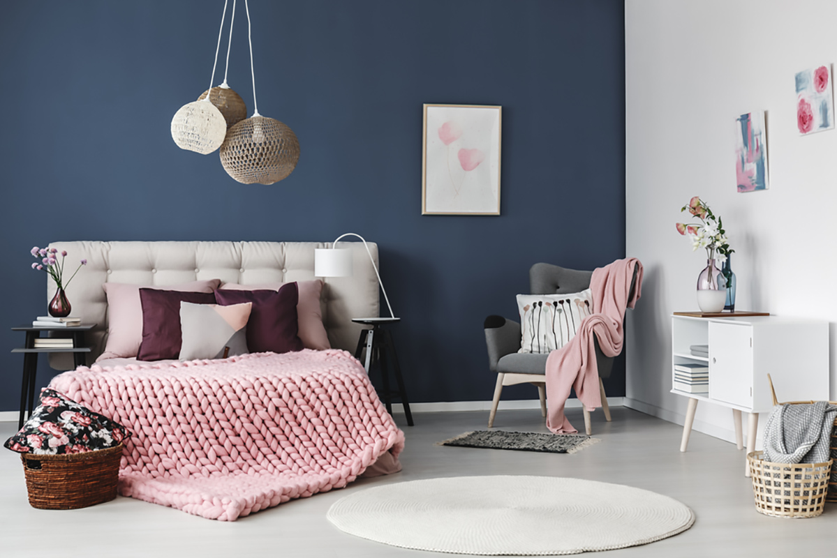 Colore blu interior design