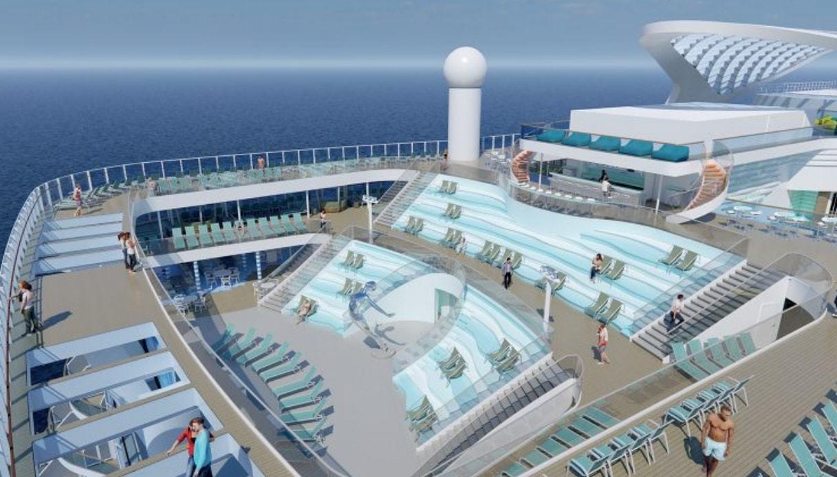 La nave avrà 11 diversi ristoranti, 19 bar, una splendida area spa con 16 sale riservate ai trattamenti, un parco acquatico con scivoli, quattro piscine e un'area interamente dedicata ai bambini