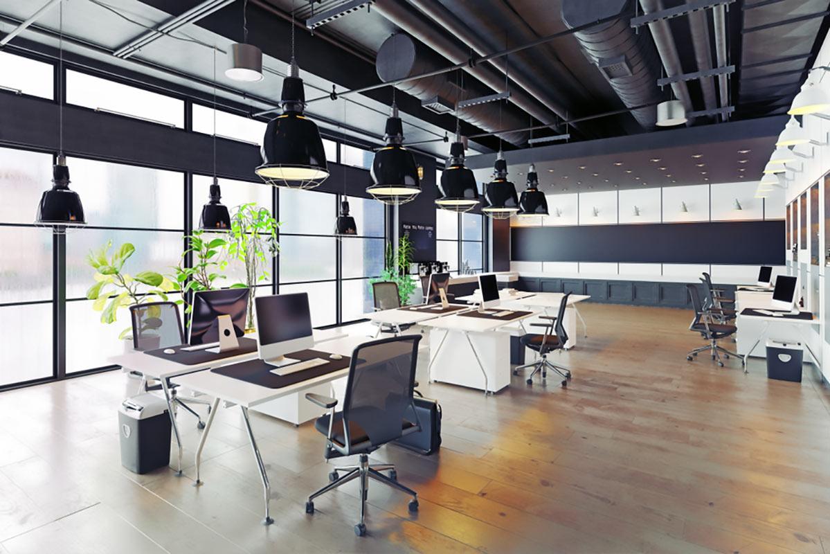 By Zastolskiy Victor Royalty-free stock illustration ID: 1031148421 modern cozy loft office interior. 3d rendering - Illustration