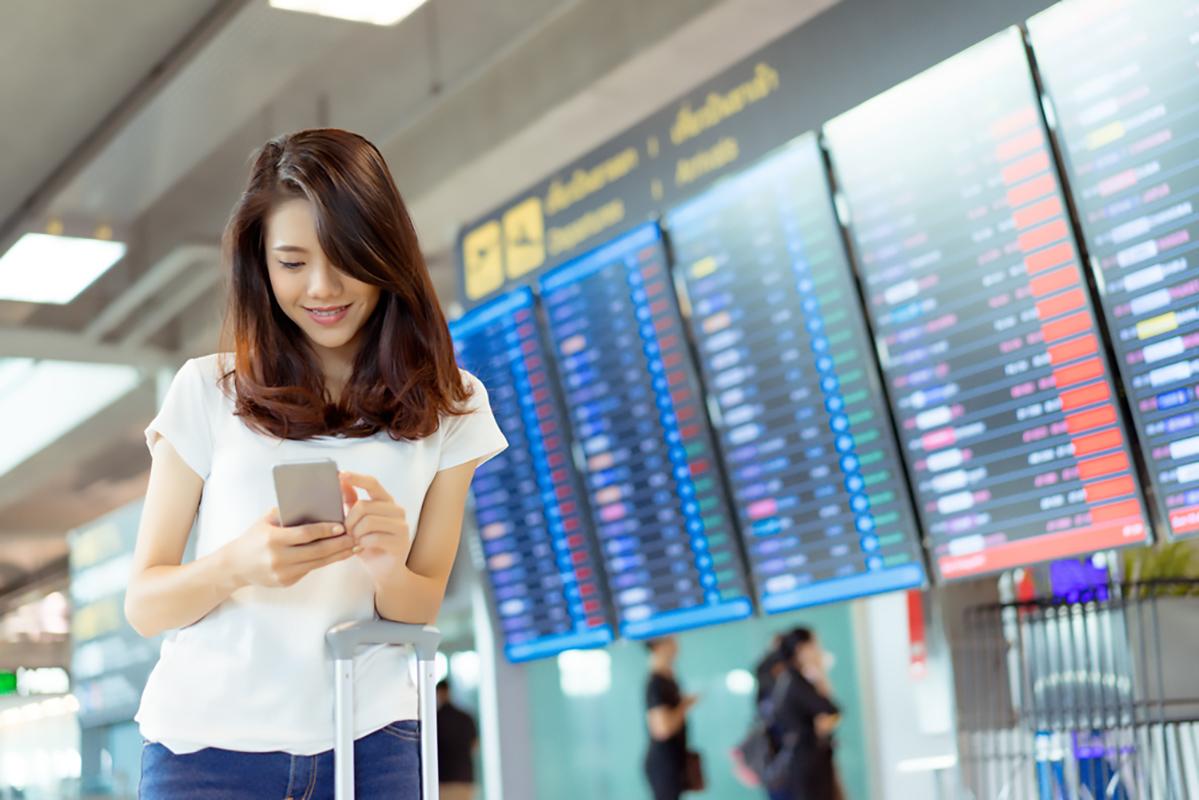 Giapponese in un aeroporto
