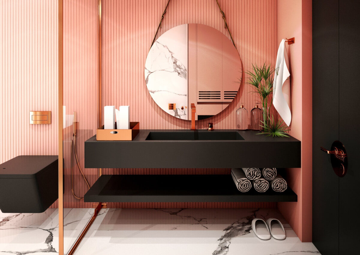 Bagno Rosa E Nero pillole di interior design: il bagno in rosa - habitante