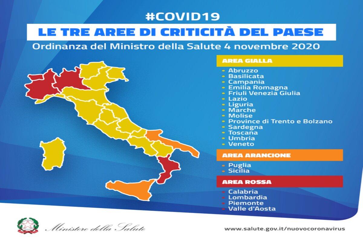 Italia divisa in tre zone, da oggi partono le restrizioni