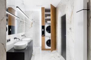 ricavare uno spazio lavanderia in bagno creando una soluzione a scomparsa